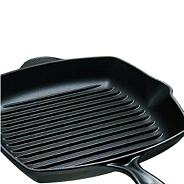 Le Creuset cast iron 26 cm 'Satin Black' square grill pan