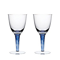 Denby - Set of 2 'Imperial Blue' white wine glasses