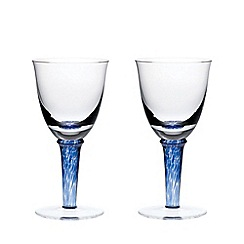 Denby - Set of 2 'Imperial Blue' red wine glasses