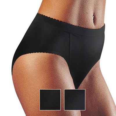 Pack of two black control tai briefs