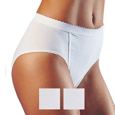 Pack of two white control tai briefs