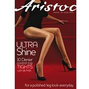 Black ultra shine 10D sheer control top tights