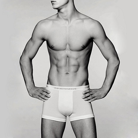 Emporio Armani - White stretch cotton boxer trunks