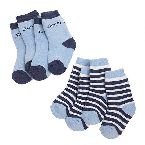 J by Jasper Conran - Designer Babies pack of four blue towelling socks