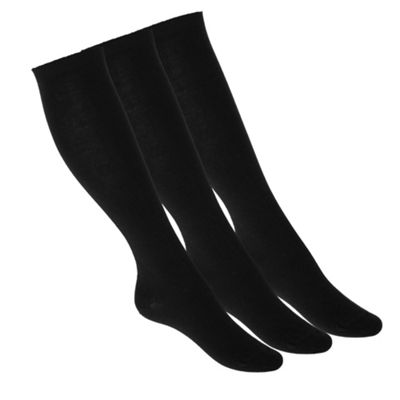 Pack of three black knee high socks