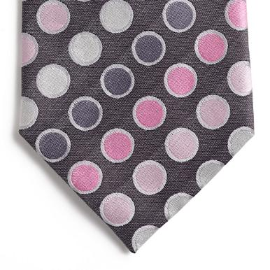 Light grey smartie spots pure silk tie