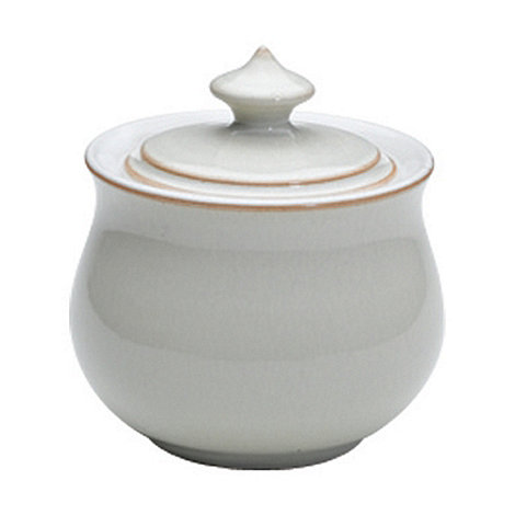 Denby - Cream and white glazed +Linen+ covered sugar bowl