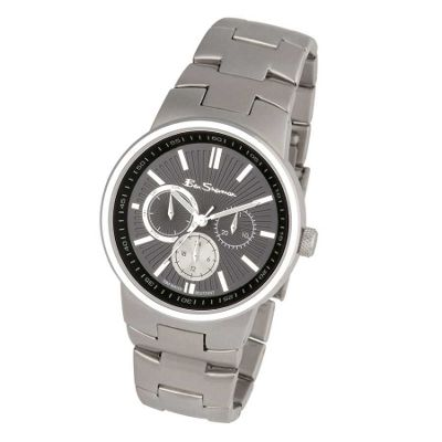 Mens black chronograph dial with bracelet
