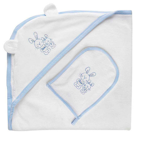 J by Jasper Conran - Designer Babies blue bunny towel and mitt set