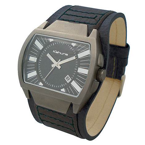 Kahuna - Men+s black dial with black leather strap watch