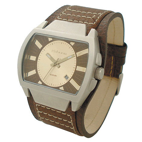Kahuna - Men+s gold coloured dial with brown cuff strap watch
