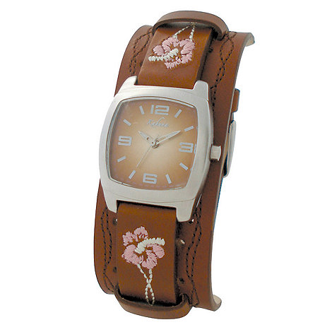 Kahuna - Ladies brown square dial with floral stitch strap watch