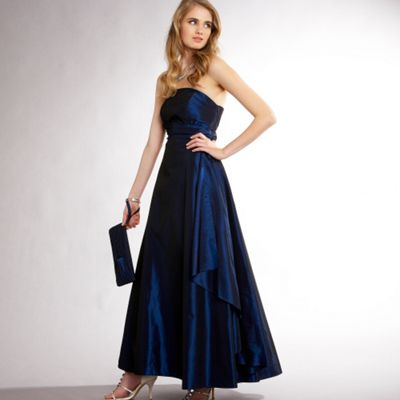 Debut Midnight blue taffeta sash front ball gown