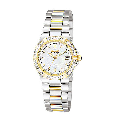 Citizen - Ladies diamond dial with two tone strap watch