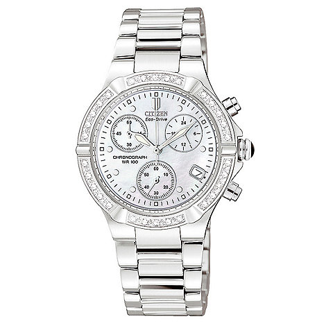 Citizen - Ladies diamond round chronograph dial bracelet watch