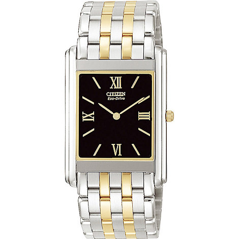 Citizen - Men+s rectangular dial with two tone bracelet watch