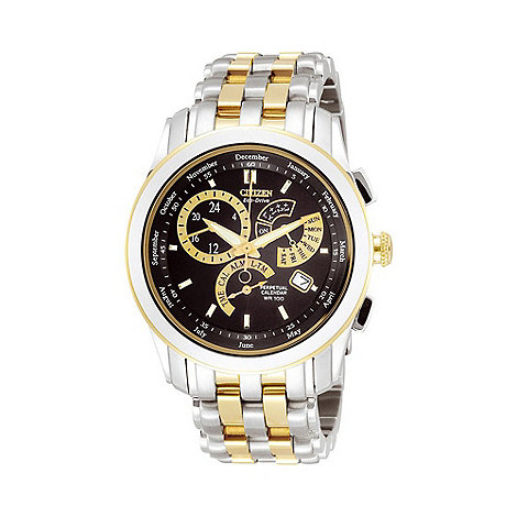 Citizen - Men+s round dial with two tone bracelet watch bl8004-53e