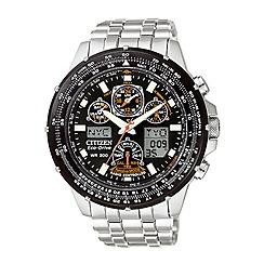 Citizen - Men's black dial with silver coloured bracelet watch