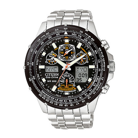 Citizen - Men+s black dial with silver coloured bracelet watch