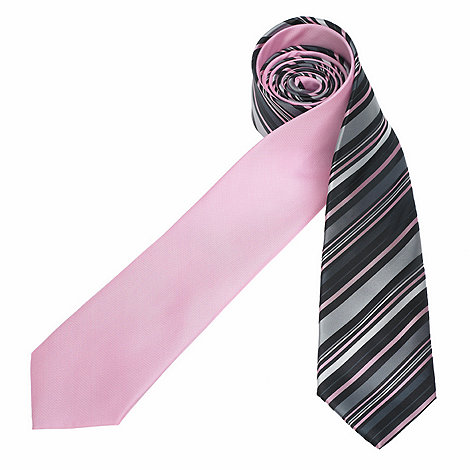 Thomas Nash - Pack of two pink plain and multi striped ties