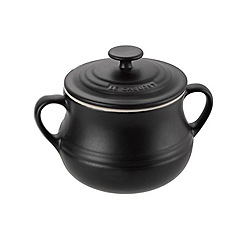 Le Creuset - Stoneware 15.3cm 'Satin Black' pair of small bean pots