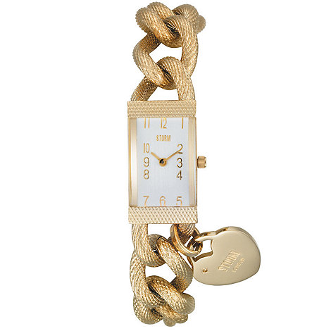 STORM - Ladies rectangular watch with bracelet and heart charm