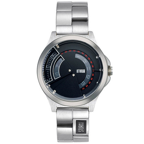 STORM London - Men+s round black dial watch with silver stainless steel strap