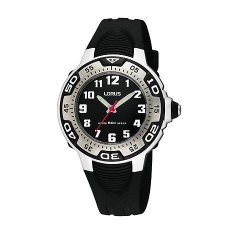 Lorus - Kids+ black round dial plastic strap watch