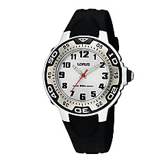Lorus - Kids' black plastic strap watch with white face rg237gx9