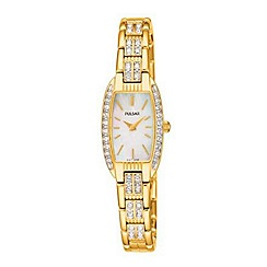 Pulsar - Ladies gold crystal mother of pearl dial bracelet watch