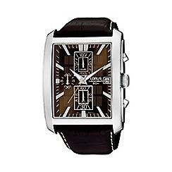 Lorus - Men's rectangular case brown dial leather strap watch