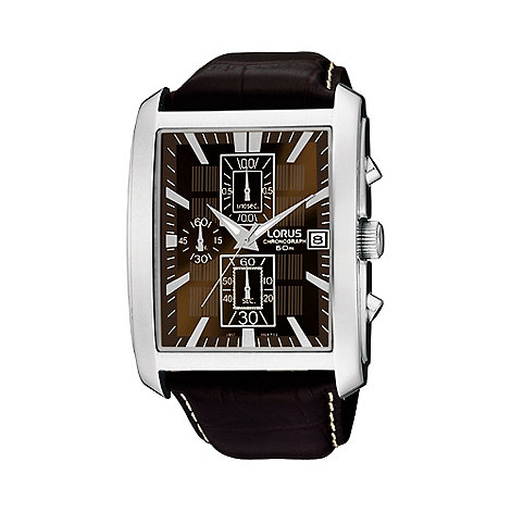 Lorus - Men+s rectangular case brown dial leather strap watch rm319bx9