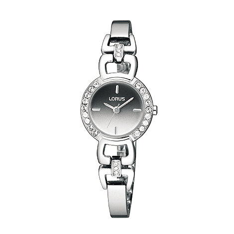 Lorus - Ladies silver round crystal dial black face bracelet watch