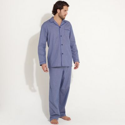 maine new england Blue pure cotton micro check pyjamas