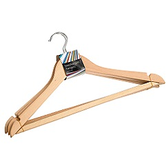 Debenhams Basics - Pack of three natural beech wood hangers