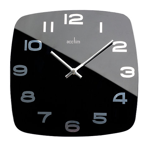 Acctim - Black square glass wall clock