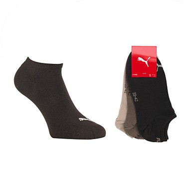 Pack of three chocolate invisible sneaker socks