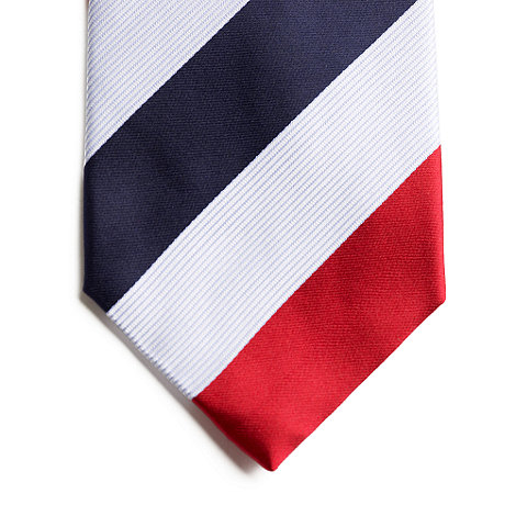 Thomas Nash - Red fine & bold stripe silk tie