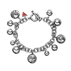 Guess - Silver coloured multi bead charm bracelet
