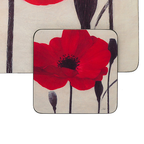 Debenhams - Set of four red poppy coasters