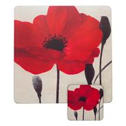 Set of four red poppy placemats