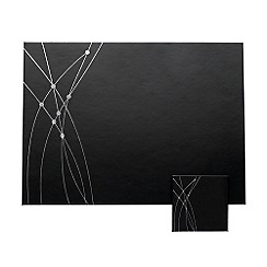 Inspire - Set of four embossed silver faux leather placemats