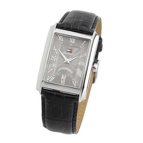 Tommy Hilfiger - Men+s black crocodile strap watch with red case