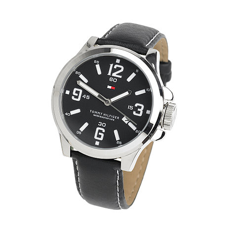 Tommy Hilfiger - Men+s black leather watch with black round dial