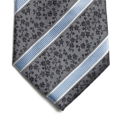 Grey Stripe & Floral Pure Silk Tie