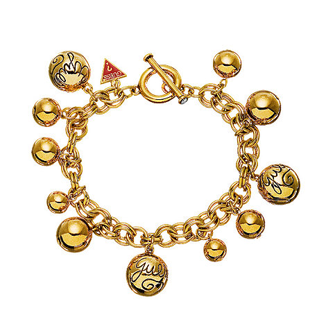Guess - Gold coloured multi bead charm bracelet