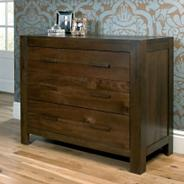 Walnut 'Lyon' three wide drawer dresser