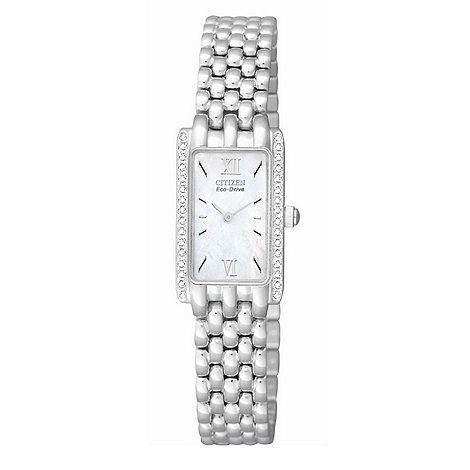 Citizen - Ladies silver coloured diamante edged watch
