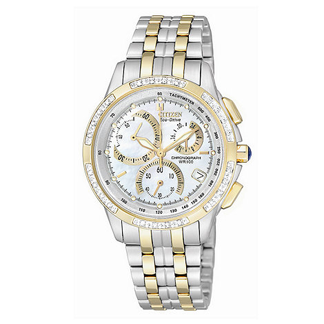 Citizen - Ladies gold and silver chronograph dial watch