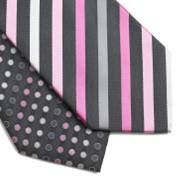 Pack of two grey bias stripe and smarties ties